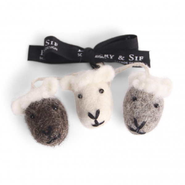 Sheep Faces - Natural, Set of 3